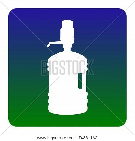 Plastic bottle silhouette with water and siphon. Vector. White icon at green-blue gradient square with rounded corners on white background. Isolated.