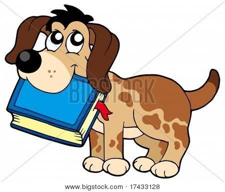 Dog holding book - vector illustration.
