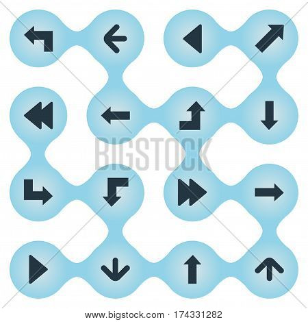 Set Of 16 Simple Pointer Icons. Can Be Found Such Elements As Pointer, Pointer, Right Direction And Other.