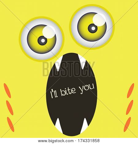 Funny monster with open mouth and large fangs, variation on theme of vampires. Yellow card with sample text for your design needs. Vector illustration