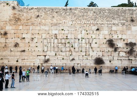 JERUSALEM, ISRAEL - MARCH 08, 2016: The Western wall or Wailing wall in the old city of Jerusalem, Israel.