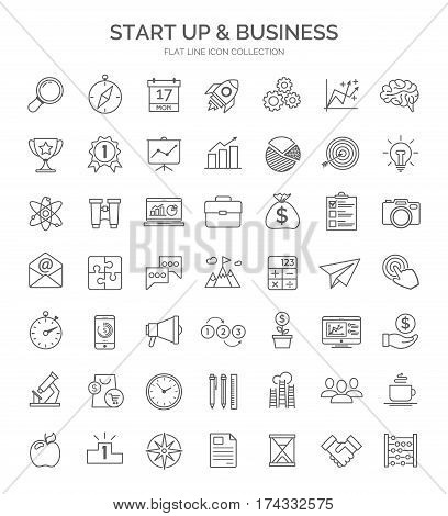 Set of start up and business thin lines web icon. Vector design elements, business signs, logos, identity, labels and other branding objects for your business. Vector Illustration