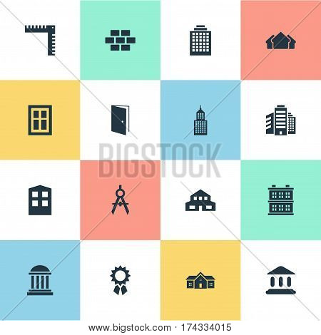 Set Of 16 Simple Architecture Icons. Can Be Found Such Elements As Construction, Glazing, Shelter And Other.
