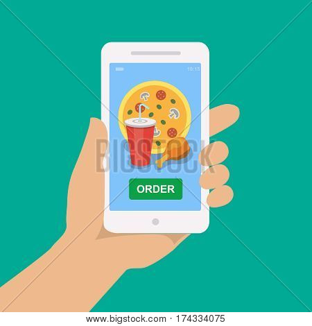 Hand holding smartphone with pizza, cola and chicken on the screen. Order fast food mobile app. Flat illustration.