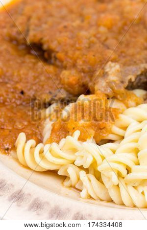 Goulash With Beef Meat Served With Macaroni