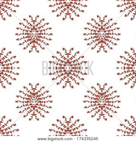Digital photo collage and manipulation technique stylized nature motif seamless pattern mosaic in red and white tones