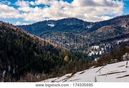 Last Days Of Winter In Mountain Landscape