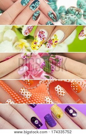 Collection of trendy colorful various manicure with design on nails with glitter,rhinestones,real flowers,stickers,turquoise.