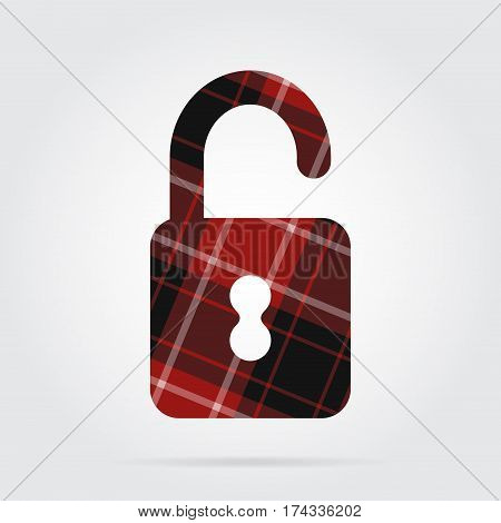 red black isolated tartan icon with white stripes - open padlock and shadow in front of a gray background