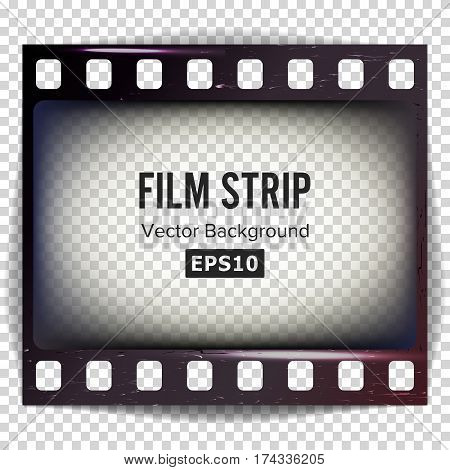 Film Strip Vector. Frame Strip Scratched Isolated On Transparent Background.