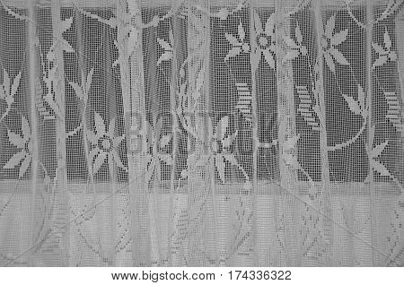 Frilly transparent curtains detail vintage white textile background