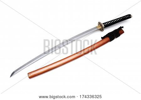 Japanese sword and scabbard with white background