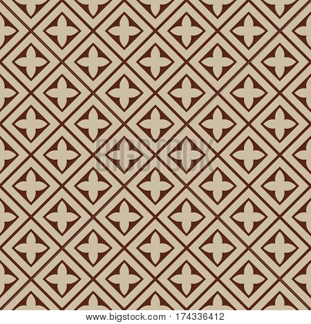 seamless illustration - beige brown square tile pattern with cloverleafs and diagonal lines