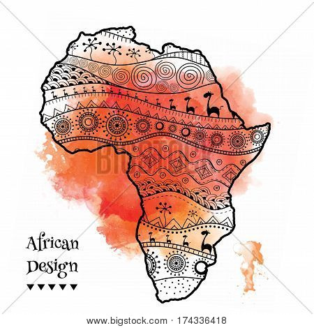 Textured Vector Map Of Africa. Hand-drawn Ethno Pattern,