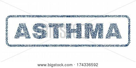 Asthma text textile seal stamp watermark. Blue jeans fabric vectorized texture. Vector caption inside rounded rectangular shape. Rubber sign with fiber textile structure.