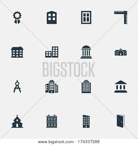 Set Of 16 Simple Construction Icons. Can Be Found Such Elements As Glazing, Booth, Superstructure And Other.