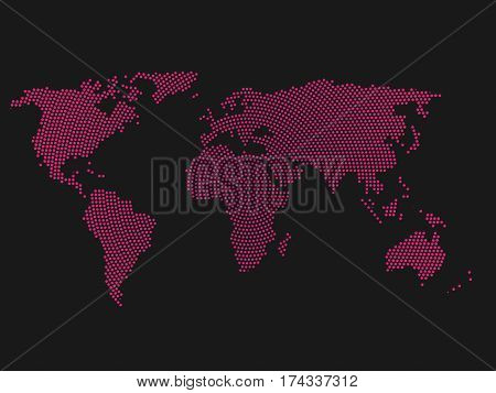 Pink halftone world map of small dots in radial arrangement. Simple flat vector illustration on dark grey background.