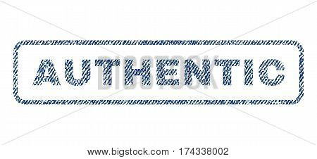 Authentic text textile seal stamp watermark. Blue jeans fabric vectorized texture. Vector caption inside rounded rectangular shape. Rubber emblem with fiber textile structure.