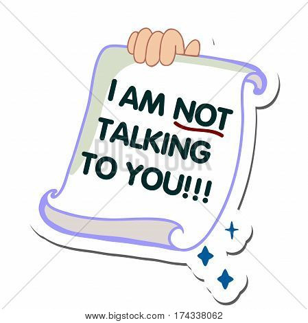SMS message design image. SMS alert to a mobile phone vector flat illustration. Sending and receiving SMS messages. I am not talking to you