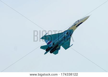 Nizhniy Tagil Russia - July 12. 2008: Russian fighters SU-27 of the Russian Aerospace forces. Display of fighting opportunities of equipment with application of aviation means of defeat. RAE exhibition