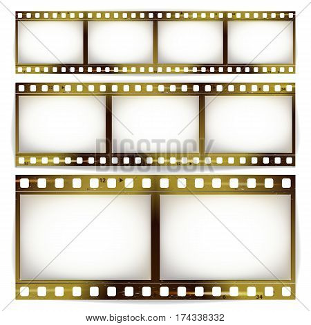 Film Strip Vector Set. Cinema Of Photo Frame Strip Blank Scratched Isolated On White