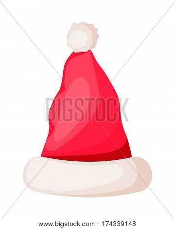 Santa Claus hat with pompom on top isolated. Winter fur woolen cap with white rim. Father Christmas unisex hat. Flat icon winter snowboard accessory in cartoon style vector illustration