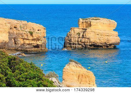 Limestone Cliff Near Shore (algarve, Portugal).