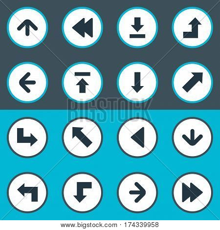 Set Of 16 Simple Indicator Icons. Can Be Found Such Elements As Indicator, Reduction, Increasing And Other.
