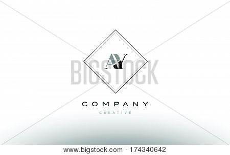 Ay A Y  Retro Vintage Black White Alphabet Letter Logo