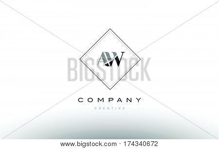 Aw A W  Retro Vintage Black White Alphabet Letter Logo