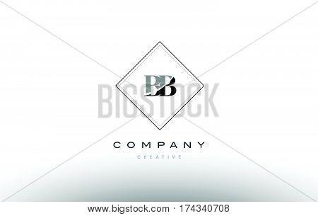 Bb B B  Retro Vintage Black White Alphabet Letter Logo