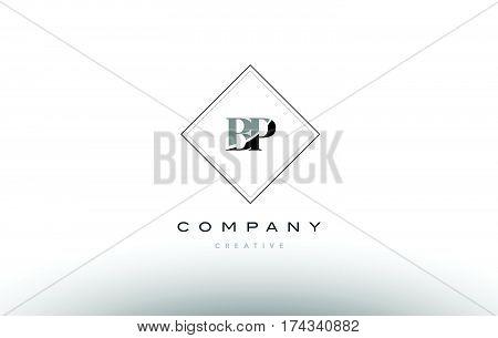 Bp B P  Retro Vintage Black White Alphabet Letter Logo