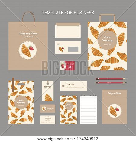 Set of corporate identity for bakery shop cafe or restaurant croissant with strawberries and round napkin on brown background branding business template vector illustration