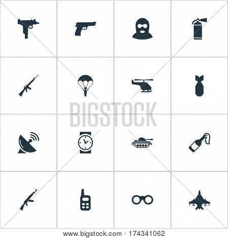 Set Of 16 Simple Terror Icons. Can Be Found Such Elements As Pistol, Rifle Gun, Firearm And Other.