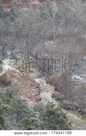 a winter snowstorm in scenic oak creek canyon Sedona Arizona