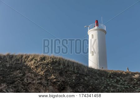Grosse Terre lighthouse from the beach in Saint Hilaire de Riez, France