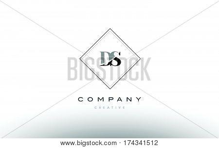 Ds D S  Retro Vintage Black White Alphabet Letter Logo