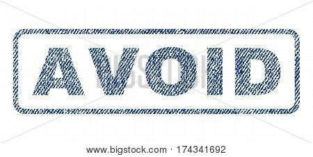 Avoid text textile seal stamp watermark. Blue jeans fabric vectorized texture. Vector caption inside rounded rectangular banner. Rubber sign with fiber textile structure.