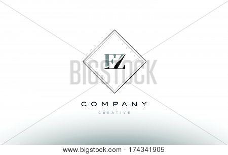 Ez E Z  Retro Vintage Black White Alphabet Letter Logo
