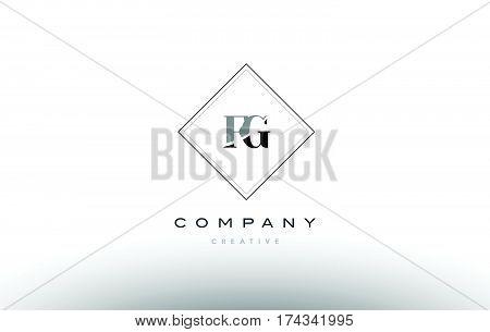 Fg F G  Retro Vintage Black White Alphabet Letter Logo