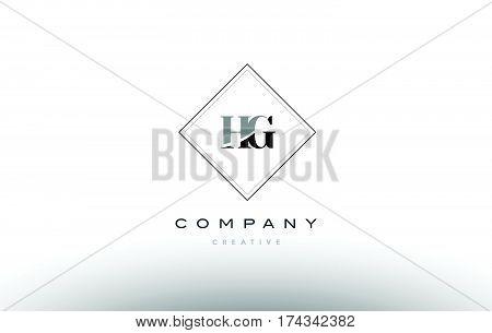 Hg H G  Retro Vintage Black White Alphabet Letter Logo