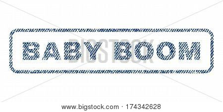 Baby Boom text textile seal stamp watermark. Blue jeans fabric vectorized texture. Vector tag inside rounded rectangular shape. Rubber sign with fiber textile structure.
