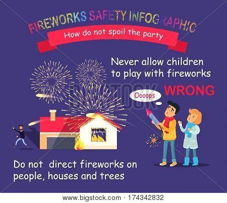 Fireworks safety vector infographic. How do not spoil the party. Improper usage of pyrotechnics. Illustration of children playing, wrong using of rocket and man getting away from burning house.