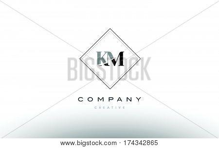 Km K M  Retro Vintage Black White Alphabet Letter Logo