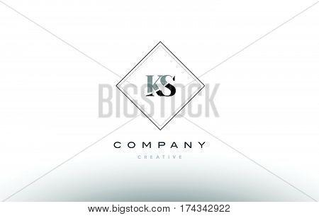 Ks K S  Retro Vintage Black White Alphabet Letter Logo