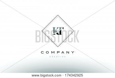 Kt K T  Retro Vintage Black White Alphabet Letter Logo