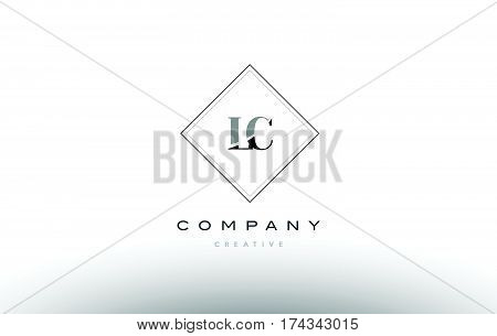 Lc L C  Retro Vintage Black White Alphabet Letter Logo