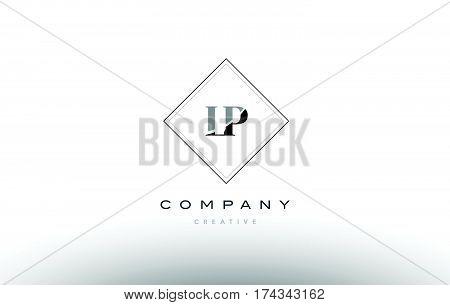 Lp L P  Retro Vintage Black White Alphabet Letter Logo