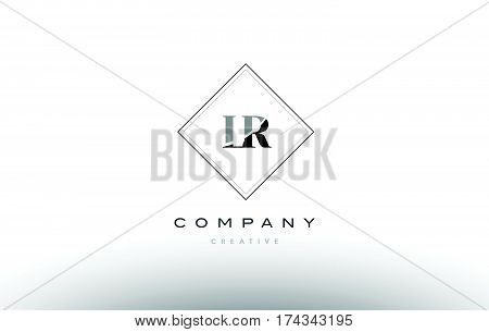 Lr L R  Retro Vintage Black White Alphabet Letter Logo