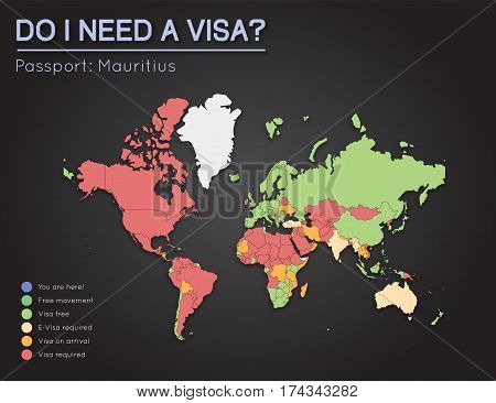 Visas Information For Republic Of Mauritius Passport Holders. Year 2017. World Map Infographics Show